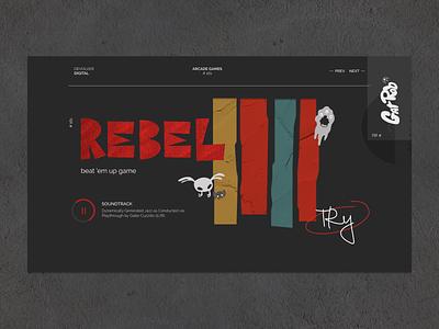 Retro video-games logo uidesign website ui papercat saul bass style gamelogo webdesign rebel textures materials grunge game retro web