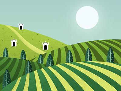 Moravia art dribbble design illustrator illustration digitalart artist procreate hills green colorful wine