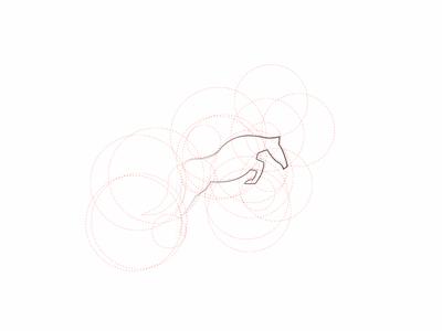 Mula Logo Grid geometric progress wip logotype circles app branding outline grid horse logo