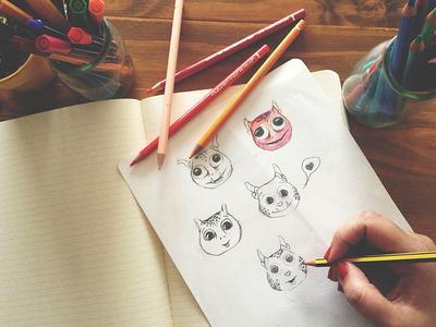 Monster Sketches monsters game character design draft moleskine colours pencils process monster illustration sketches