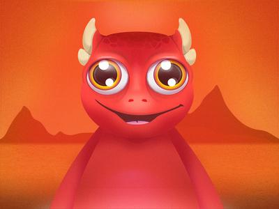 Red Monster Illustration dragon dinosaur animal illustration design character desert monster fire red