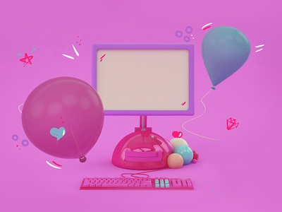 3D Computer & Ballons  graphic layout render light party girl pink baloon computer tech 3d illustration
