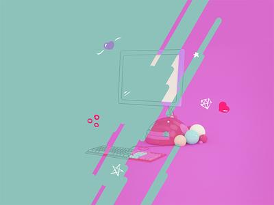 3D in progress! keyword computer illustration spot pink layout 3d sketch progress wip