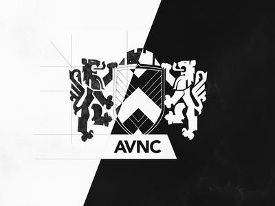 AVNC Logotype in progress branding digital sketch white black lion shield logotype logo progress