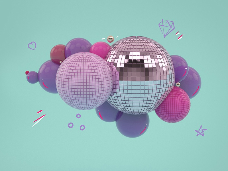 3D Party ! spot baloons layout render digital 3d illustration party disco pink