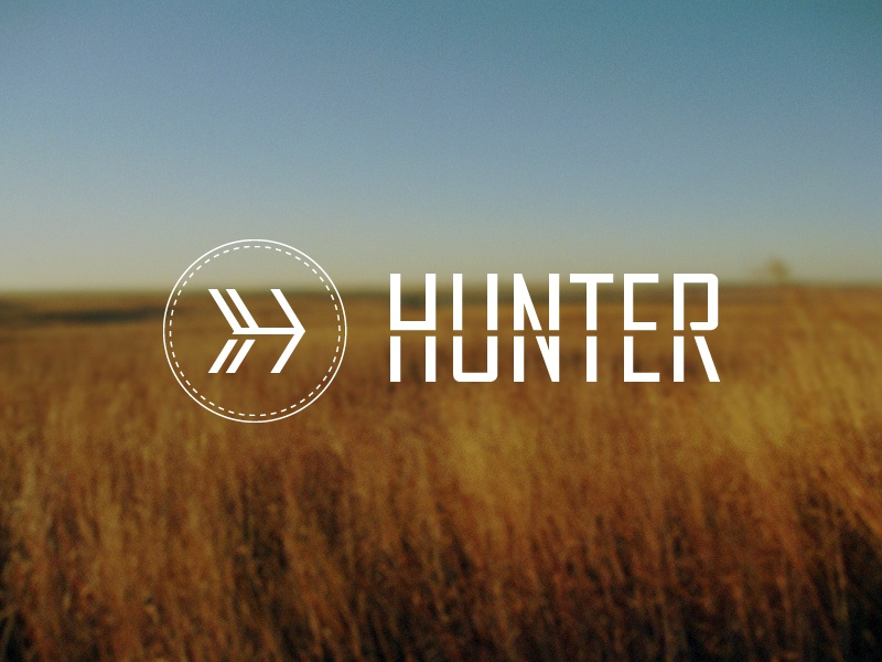 Hunter logo branding hunter hunt arrow bow strikethrough