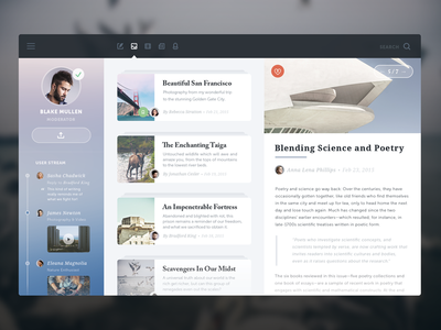SCIENCE & POETRY ui ux article imagery stream user app color simple social icons