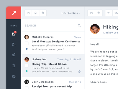 Simple Email App email mail app ui ux flat application clean photos icons nature