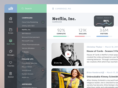 Silt Dashboard dashboard app marketing ui ux message flat minimal posts