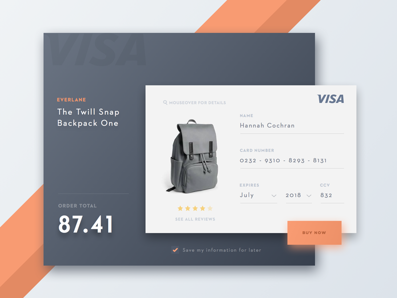 Day 002 - Credit Card - Daily UI ux ui visa register shopping flat card modal credit card dailyui