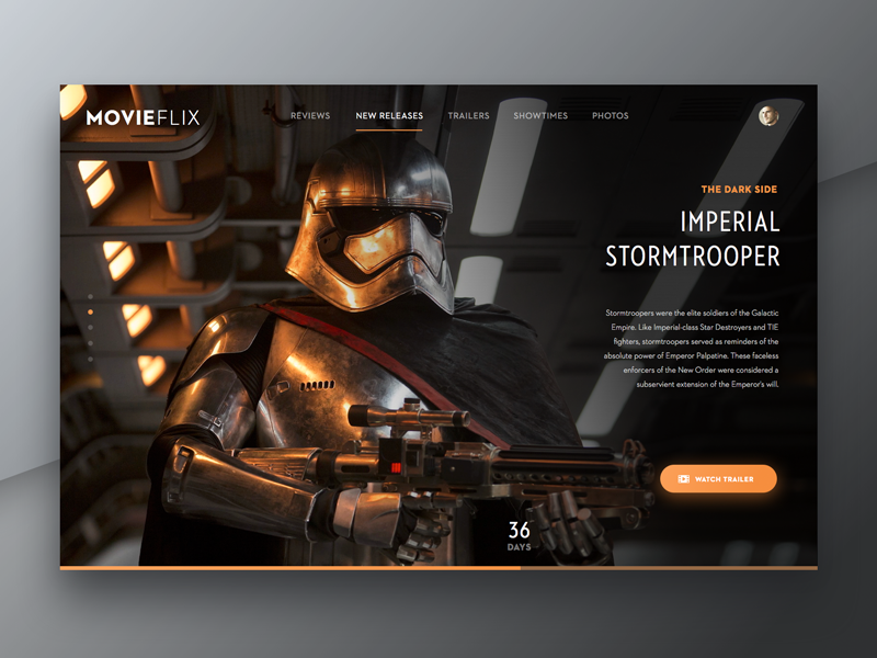 Day 003 - Landing Page - Daily UI trooper ux ui flat review movie trailer landing star wars dailyui