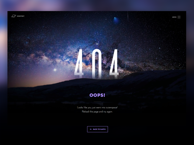 Day 008 - 404 Page - Daily UI ux flat ui color space landing 404 error daily ui