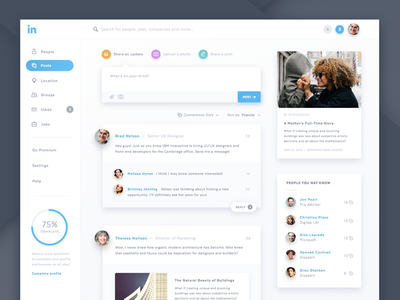 Linkedin Redesign network business article progress diffuse flat post dashboard linkedin