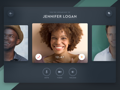 Calling Card minimal diffuse chat video call card clean flat ui