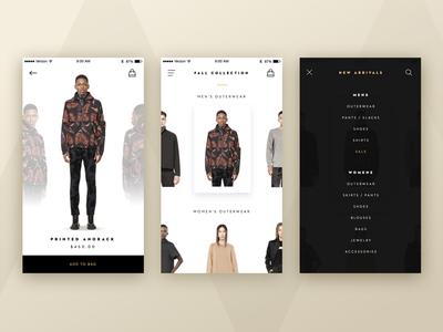 Fashion App diffuse bag clothes menu ui design fashion