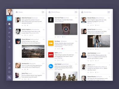 Tweetdeck Redesign glow media social feed video icon ui twitter tweetdeck