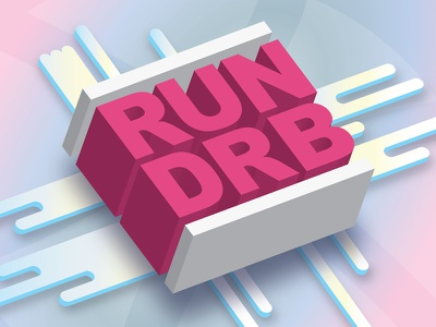 RUN DRB blue pink lines logo dribbble run dmc