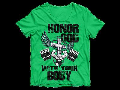 Christian Gym T-shirt Design christian bodybuilder graphic design fitness gym t-shirt t-shirt design