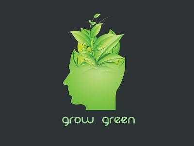 Grow Green logo art illustrator minimal flat vector ui design branding illustration logo