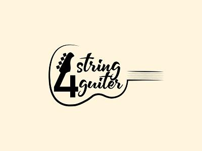 4 String Guiter Shop Logo vector illustrator design art illustration typography minimal flat logo branding