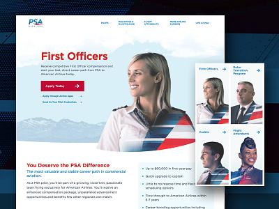PSA Airlines web design website gotham curves double exposure pilot airline