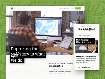 Boom Crate Website script white space green web design website video