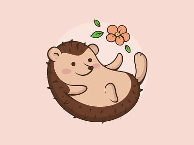Hedgehog illustration funny animal cute leaves flower hedgehog art illustrator flat icon vector branding logo design illustration
