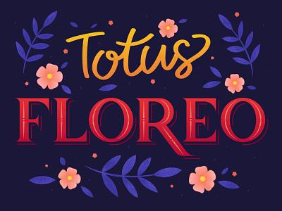 """All in Bloom"" lettering spring lettering vector illustration flower flat design art"