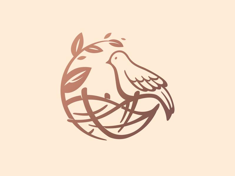 Nest logo for fun springtime funny cute branding illustration nest birds logo bird animal design art logo vector flat