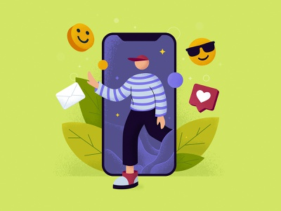 Smartphone illustration phone bright colors mail web illustration webdesign technology smiling face smiles likes leaves funny character funny smartphone vector illustration design flat art
