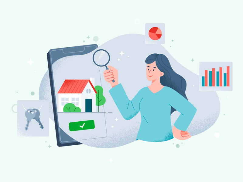 Choosing a home houses simple illustration choose mobile girl illustration seach diagram house illustration home house rent funny vector illustration flat design art