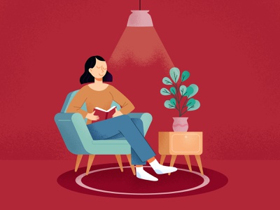 Relaxing Time Illustration retro chilling relax reading book woman illustration reading cute funny vector illustration flat design art