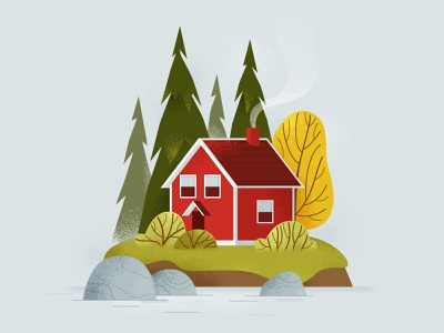 Scandinavian House in Autumn autumn colors fall time autumn landscape vector illustration house illustration house home tree vector art design flat illustration