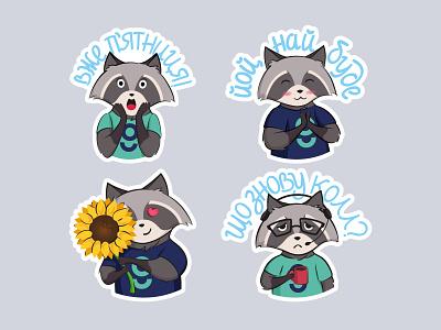 Stickers Set - Funny Raccoon character animal illustration flower illustration animal raccoon cute funny illustration flat art vector design