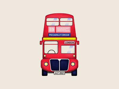 UK BUS logo flat illustration 2d vector graphic design 89 uk queen london bus england