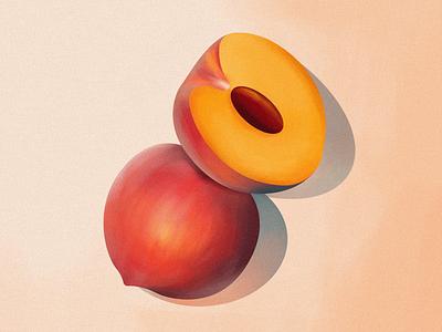 peach branding logo icon 2d vector illustration graphic design nature pastel color orange fruit peach