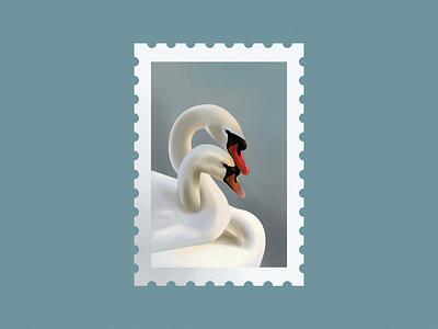 Swans mark logo nature vector design graphic illustration girlfriend boyfriend couple love lake swan swans