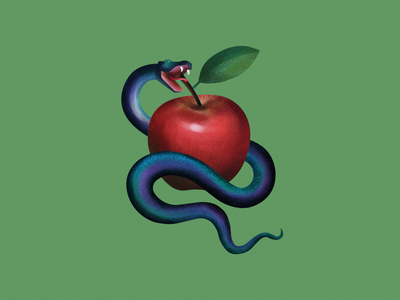 Snake apple design graphic logo branding nature 2d vector illustration fruit eva apple snake