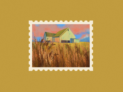 the village post mark post card photo pink farm clouds corn country city graphic vector flat 2d illustration graphic design village