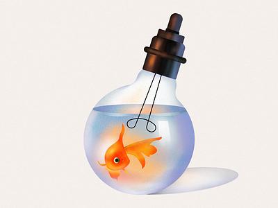 golden fish-lamp light ocean aqvarius aquarium fish lamp golden fish 2d illustration design vector graphic