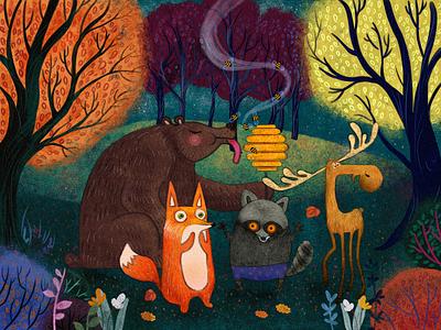 Autumn in the woods hunting koala deer book nature atumn honey bee bear fox animals wood forest design graphic 2d illustration ill branding graphic design