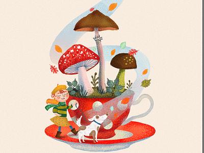 The mood of autumn like boock childrenboock childrenillustration happy leave wind tea cup mushroom gir dog autumn digitalart graphic branding design illustration ill graphic design