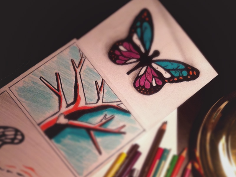 Journey of Butterfly journey butterfly sketch drawing story board colored pencil tree pencil hand drawn hand-drawn