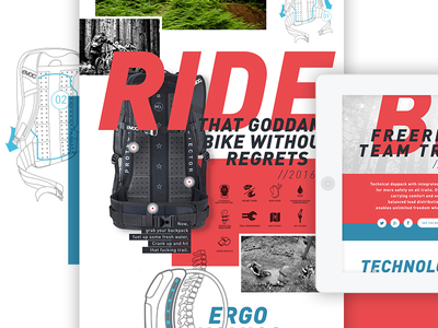 Evoc product detail page concept mountain bike backpack bold concept website web user experience ui ux typography bike evoc