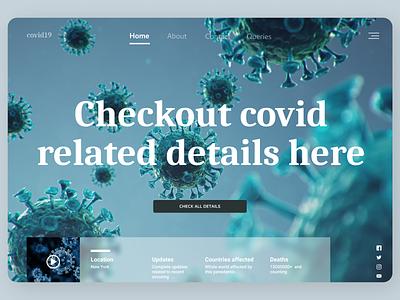 Covid Details Landing Page ui design