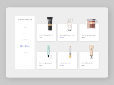 Skin care Products Page minimal branding ui design