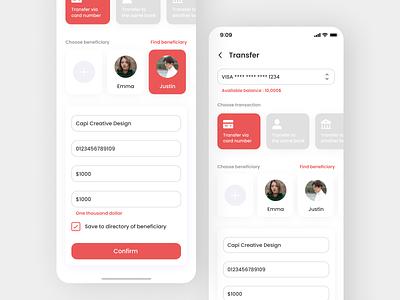 Online Money Transfer App app ux ui design