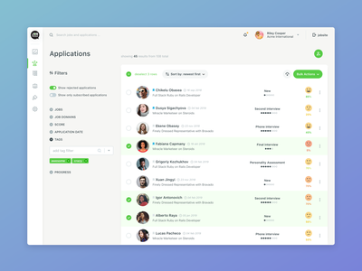 Job Applications saas application ats applicant tracking system hiring interface hr ux ui