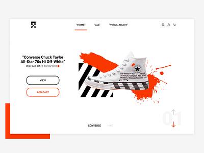 OFFWHITE HOMEPAGE DESIGN ui web figma nike converse orange design redesign virgil abloh off white offwhite
