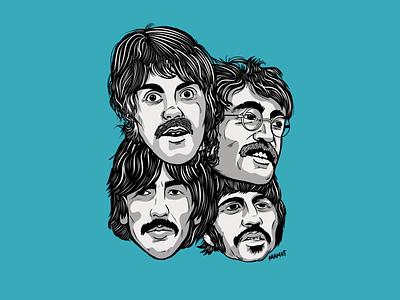 Come Together 🎸🥁🎤 mamut design procreate illustration george harrison ringo starr john lennon paul mccartney sgt pepper the beatles